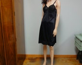 Vintage 60s Sears Full Slip Dress Black Nylon and Lace Bust 36