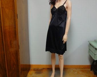 Vintage 60s Sears Full Slip Dress Black Nylon and Lace Bust 36