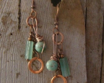 Boho Style Long Bangles and Dangles Green Turquoise and Adventurine Wire Wrapped Earrings 1.99 Shipping USA