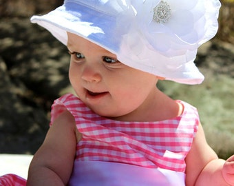 Baby Sun Hat Large White (Removable) Flower Clip With White Sun Hat-(You Pick Size)