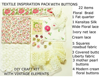 Large PinkTextile Inspiration Craft Pack,Collage Kit ,Cottage Chic, Floral Fabric,Vintage Lace, Buttons; Kensitas Silk,Ribbon 22pcs