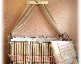 Crib Canopy Bed Crown Teesters Princess Pink GOLD Bedroom decor for Girls nursery Personalized FREE Custom made So Zoey Boutique Design SaLe
