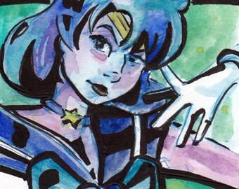 Sailor Moon Sailor Scout Art - Print of Original Painting of Sailor Mercury - Wall Art by Jen Tracy