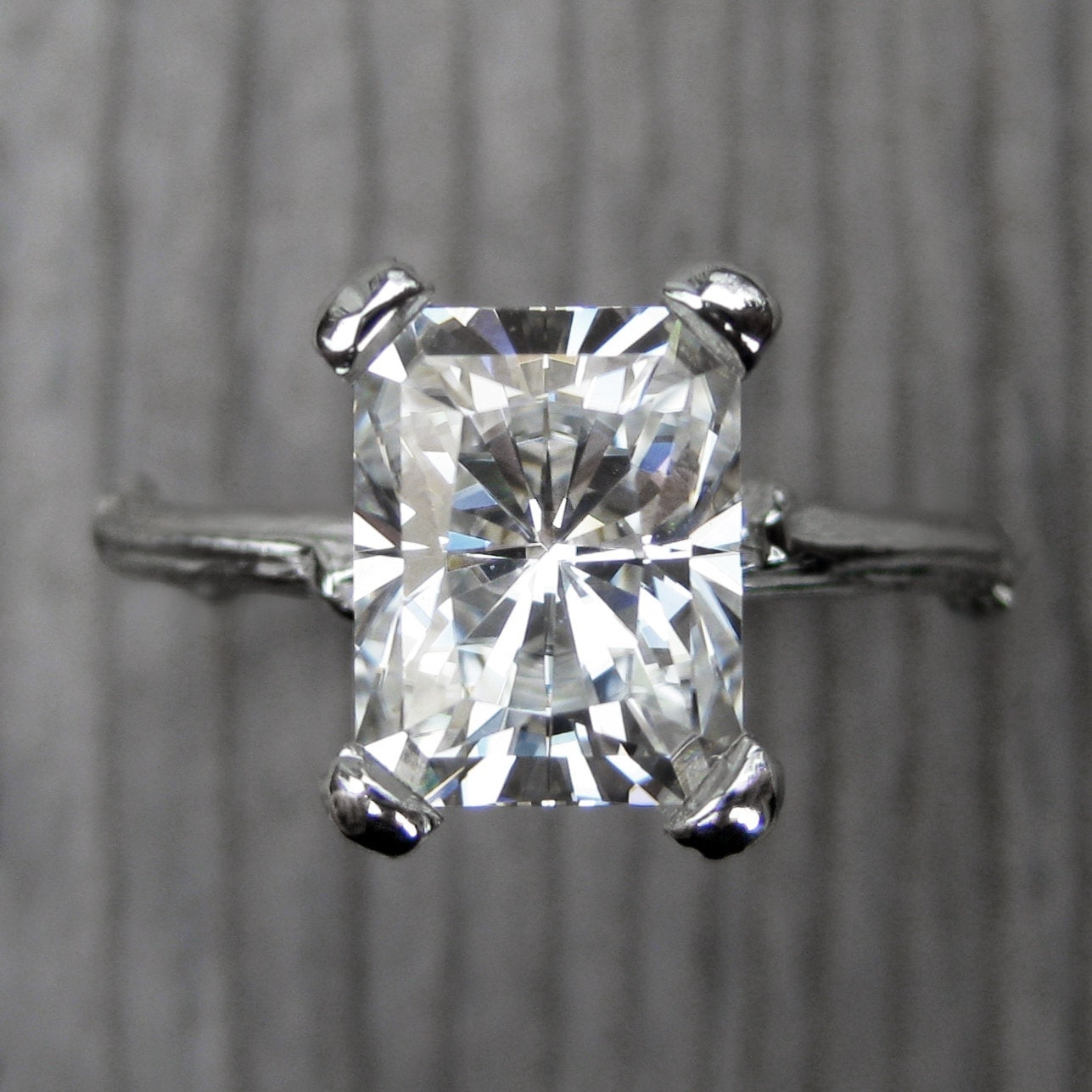 emerald cut moissanite branch engagement ring 2 7ct white