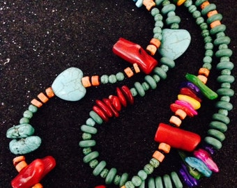 Moroccan Tribal Turquoise African Trade Bead Necklace Double Stranded Necklace