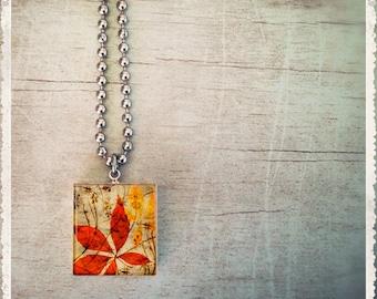 Scrabble Tile Art Pendant - Artistic Leaves 2 - Scrabble Jewelry Charm - Customize - Choose Your Style