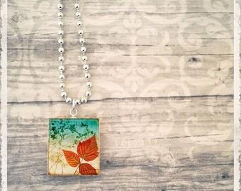 Scrabble Art Pendant - Artistic Leaves Series 1 - Scrabble Tile Necklace - Customize - Choose Your Style