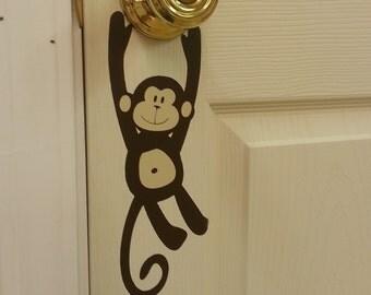 Monkey Door Knob vinyl decal hanger, Door Decals, Monkey Decal, Monkey Sticker, Kids Bedroom Door Decor, Door Sign, Jungle Decals, Monkey