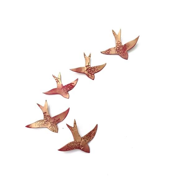 5 Porcelain wall art Swallows over Morocco Gold deep pink red ceramic birds Moroccan Bedroom art Wall sculpture Living room Kitchen Art