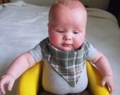 Bandana Baby Bib Reversible Green Plaid