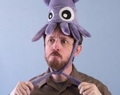 Small Fleece Squid Hat - Purple Tie-Dye