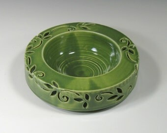Decorative Bowl - Centerpiece - Tabletop Decor - Dip bowl - Ikebana Bowl - Green Hand Carved Bowl - Double walled bowl - Handmade Pottery