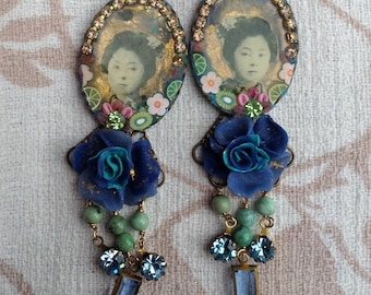 Lilygrace Blue Rose Geisha Earrings with Turquoise and Vintage Rhinestones