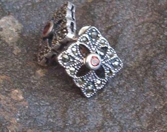 Earrings, Vintage Sterling Silver Marcasite Square Earrings in Garnet