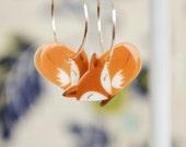 Fox earrings, cute animal earrings, little fox dangles