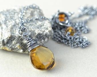 Brown Quartz Necklace, Whiskey Quartz Necklace, Chestunt Brown Necklace