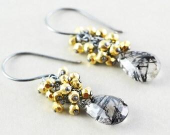 Tourmalated Quartz Dangle Earrings, Black Gold Cluster Earrings, Winter Earrings, Handmade