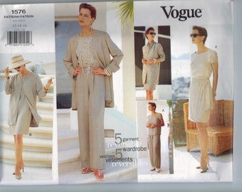 1990s Misses Sewing Pattern Vogue 1576 Misses Wrap Skirt Pants Jacket Top Scarf Easy 5 Piece Wardrobe Size 12 14 16 Bust 34 36 38 UNCUT