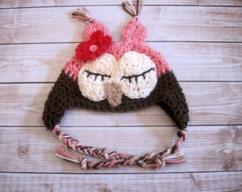 Sleepy Baby Girl Owl Hat, Newborn Halloween Costume, Crochet Owl Hat, Owl Halloween Hat, Baby Girl Animal Hat, Pink Newborn Girl Hat