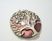 Tree of Life Black, Interference Pink and Silver Handmade Polymer Clay Pendant