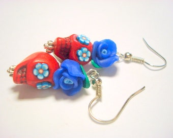 Sugar Skull Earrings Blue and Red Day of the Dead Roses and Sugar Skulls