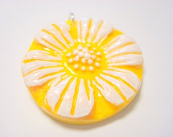 Yellow and White Daisy Handmade Polymer Clay Pendant