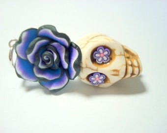 Large Ivory and Purple Sugar Skull Rose Day of the Dead Pendant or Ornament
