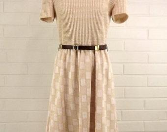 Vintage 70's Sweater Dress, Short Sleeve, Size 14, Medium