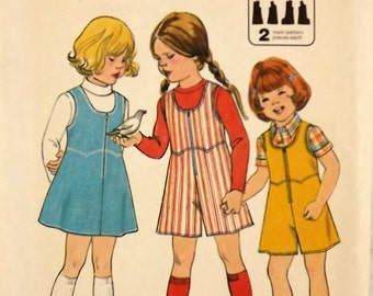 Vintage 70's Sewing Pattern, Girl's Jumper, Culottes, Size 3