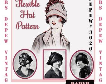 Vintage Sewing Pattern 1920's Flexible Hat Depew 3020 Booklet -PAPER VERSION-