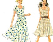 1990s Dress Pattern Simplicity 7148 Flared Skirt Short Sleeve Maxi Dress Sleeveless Midi Dress Sundress Bust 31 1/2 - 40 Uncut