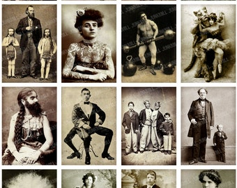 HUMAN ODDITIES - Digital Printable Collage Sheet - Vintage Circus Freakshow Performers, Freaks & Geeks, Unusual Beauty, Digital Download