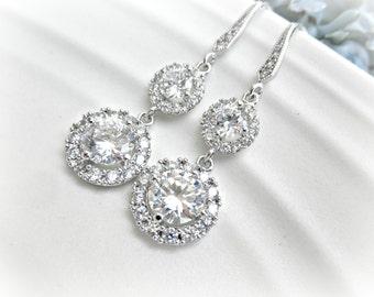 Circle Rhinestone Bridal Earrings - Wedding earrings - cubic zirconia - circle - round setting - sterling silver ear wire