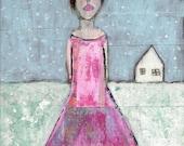 Digital Print. Woman Figure. Winter Snow Scene. Whimsical Art Prints. Cute Gift for Her