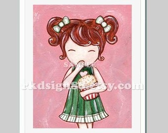 Kids wall art baby girl nursery decor children's prints popcorn red hair, Movie Time