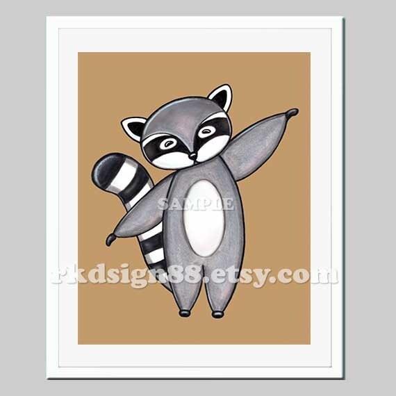 "Nursery art print, ""baby nursery decor"", kids wall art, children decor, woodland art, raccoon painting, My Raccon 8 x 10 print"