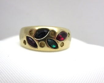 Vintage Rhinestone Leaf Ring - Colorful Costume Jewelry 14k GE Espo