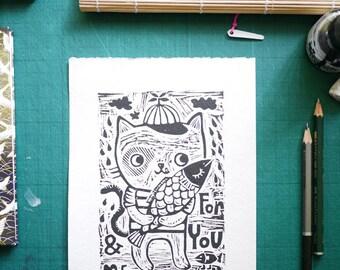 Kitty for You & Me- Original Linocut print