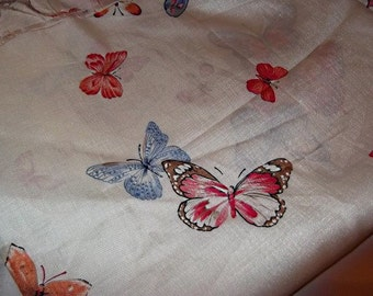Silky and Slinky vintage 70s BUTTERFLY Fabric, Over 3 Yards, Hippie Crafts, Boho