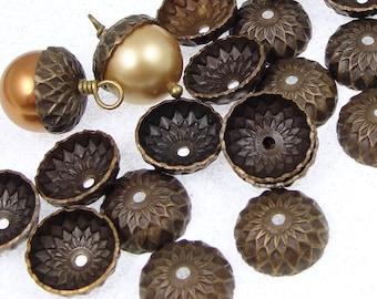 36 Acorn Caps Vintaj Natural Brass 13mm Acorn Bead Caps Dark Brass Antique Brass Acorn Beadcaps Fall Autumn (BC0003)