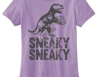 Dinosaur Shirt womens graphic tee hipster t-rex tyrannosaurus t-shirt Sneaky Sneaky cute dinosaur shirt dino with cake funny graphic tee