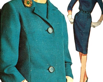 1960s Dress Pattern Jacket Slim Skirt Vintage Sewing Advance Half Size Women's Misses Size 14 . 5 Bust 35 Inches