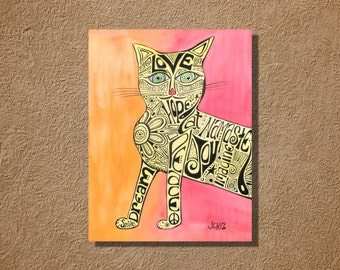 Marcia Marcia Marcia Brady Cat Original Watercolor and Ink Painting 18x24