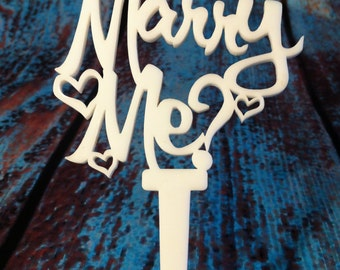Marry Me? Proposal Prop, Valentine Food Pick, Cake Topper, Dessert topper