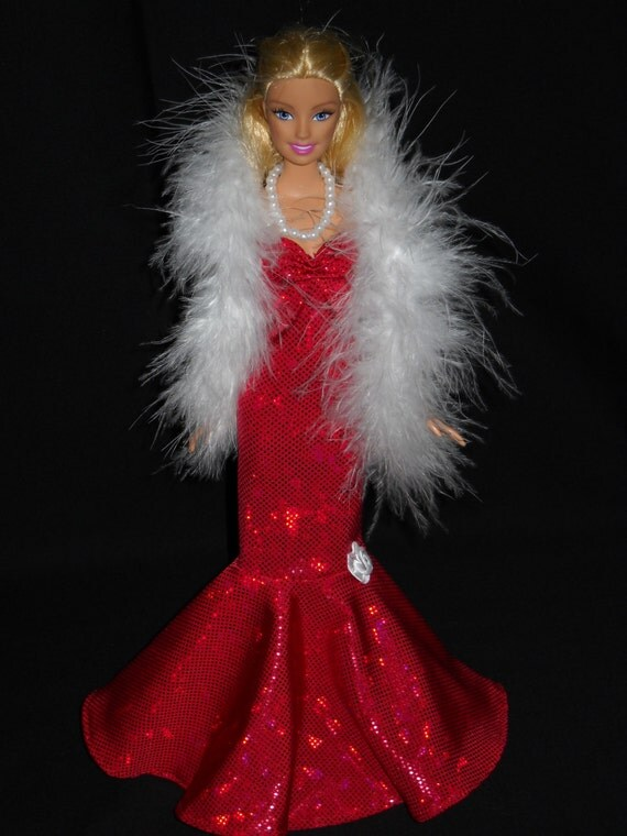 3 Piece Outfit Barbie Doll Dress Handmade Shimmery Red Sweetheart Sheath Dress with Boa and Necklace