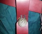 Burgundy Leather Tankard Strap, Mug Loop, Mug Frog Button Closure Renaissance Faire SCA Pennsic LARP