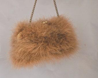 Beige-Peach Marabou Feather Clutch / Purse / Handbag