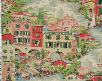 Venice fabric pink toile Italy Italian interior home decorating material cotton 1 yard