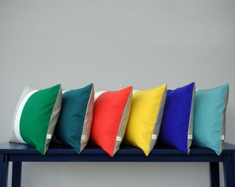 Modern Color Block Pillow in your choice of colors, Cream and Natural Linen Stripes by JillianReneDecor | Colorblock Pillows