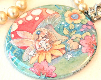 tiny purse mirror, fairy and bunny, gift idea, made in the USA, gift for girls